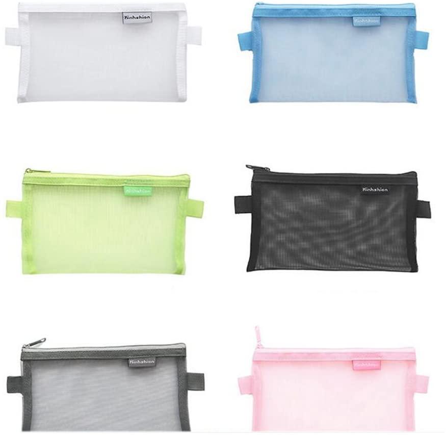 5 Pieces Portable Clear Mesh Net Pencil Pen Case Cosmetic Makeup Bag (Large)