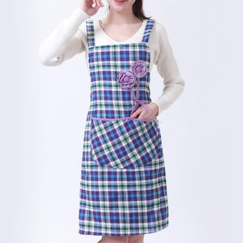 ZJYSM 2PCS/LOT Cotton Apron Oil-proof Female Housework Cleaning Protective Clothing Anti-dressing Kitchen Restaurant Home Gown ZJYSM (Color : Purple, UnitCount : 2PCS)