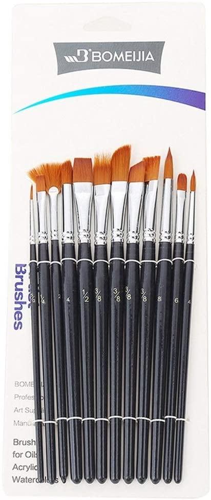 XYXINS 12Pcs Nylon Watercolor Paint Brushes Set Different Headed Multifunction Short Rod Oil Acrylic Painting Brush Pen Art Supplies (Color : 12pcs Set)