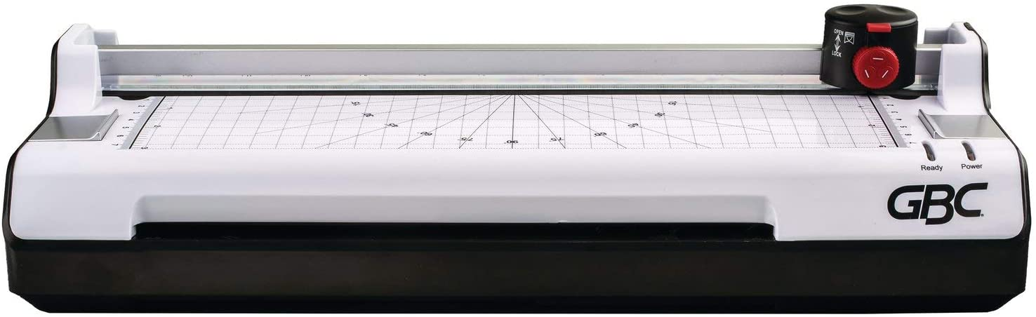 GBC Thermal Laminator Machine, 3-in-1, 9 Inch, 3 or 5 Mil, with Trimmer, Corner Rounder, Includes 10 EZUse Laminating Pouches (1701888)