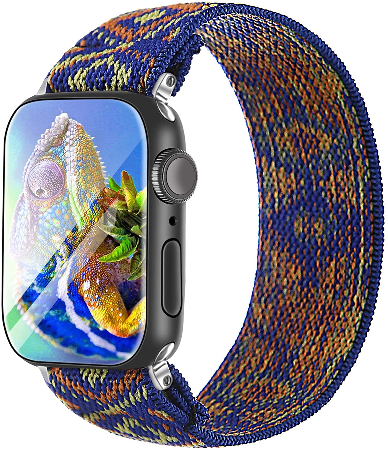 Elastic Strap/Band for Apple Watch, Cloth Wool Band Wristband Strap Bracelet Women Scrunchies Compatible with Iwatch Band Series 1 2 3 4 5 (Blue-1, 42mm/44mm)