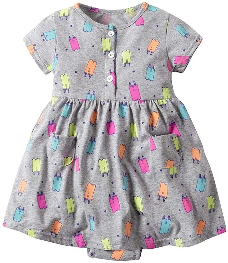 terbklf Toddler Kid Baby Girl Short Sleeve Cartoon Elements Printed Dress Princess Romper Dresses Clothes