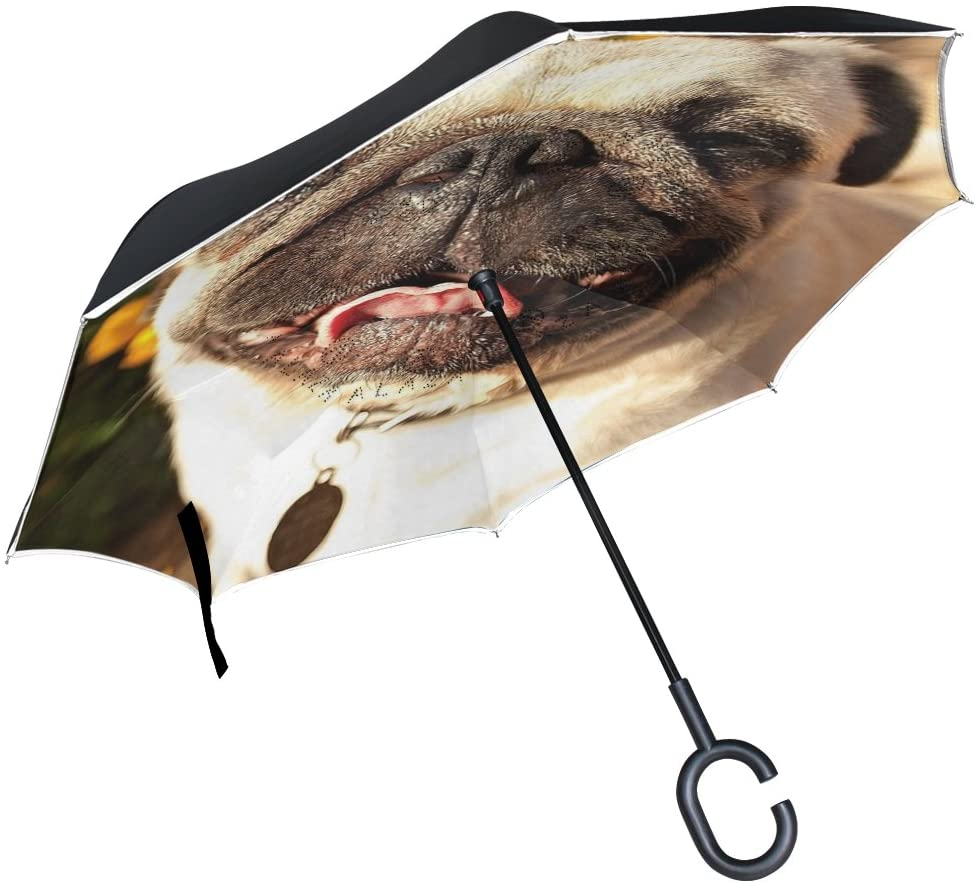 Vipsk Reverse/Inverted Lovely Dog Double-Layer Waterproof Straight Umbrella Self-Standing & C-Shape Handle & Carrying Bag for Free Hands, Inside-Out Folding for Car Use