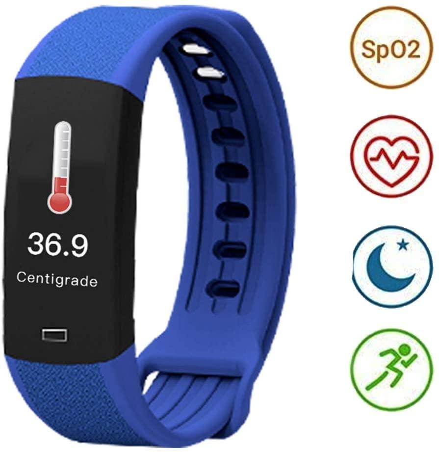 GUANLIAN Fitness Tracker Watch, Distance Alarm Bluetooth Smart Bracelet Measurable Sleep Exercise Step Health Sportswatch (Color : Blue)