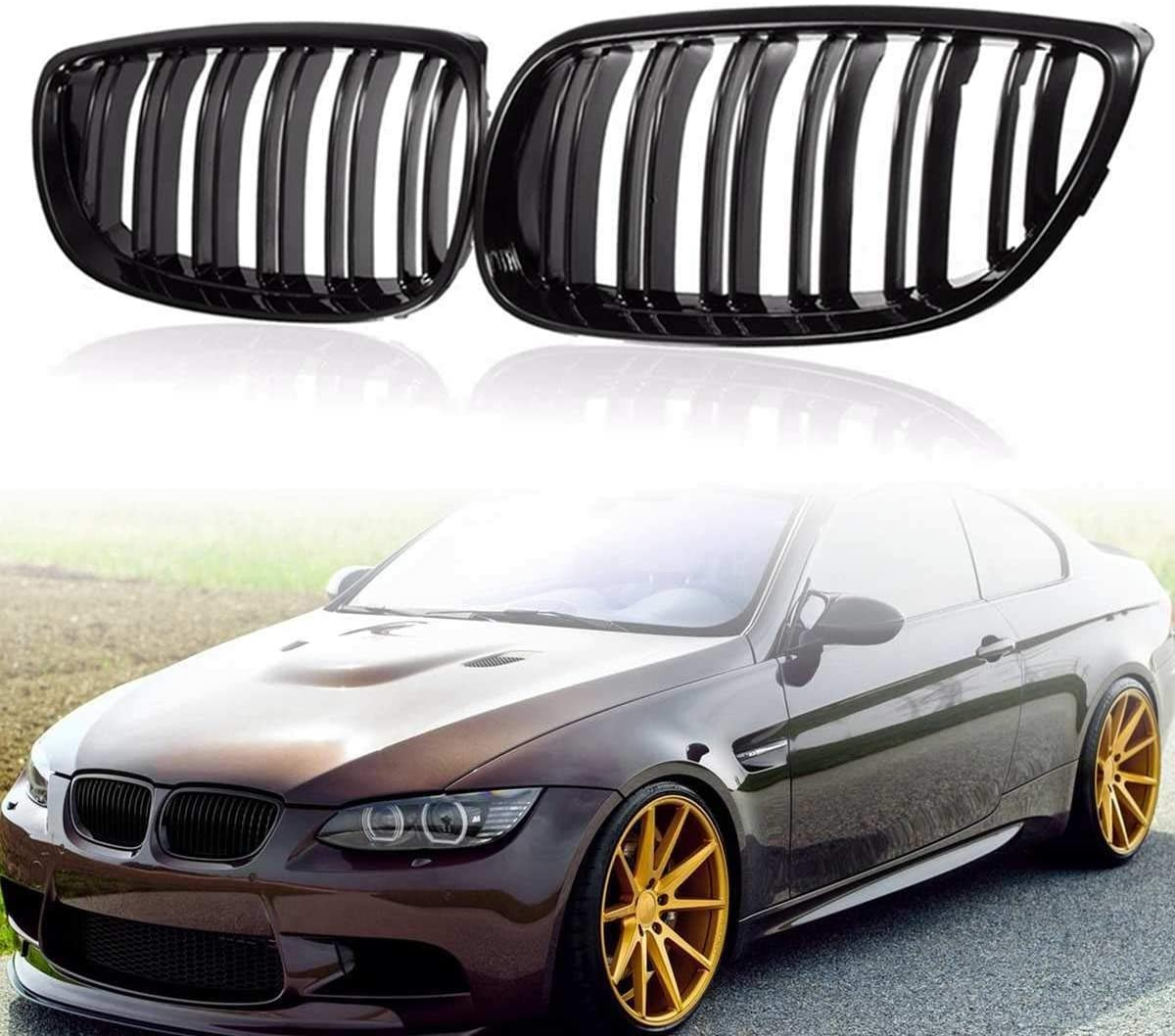 ASDZ Pair Gloss Black Double Line Front Kidney Grille Grill for BMW E92 E93 3-Series 2007 2008 2009 2010 Car Racing Grills Racing Grills
