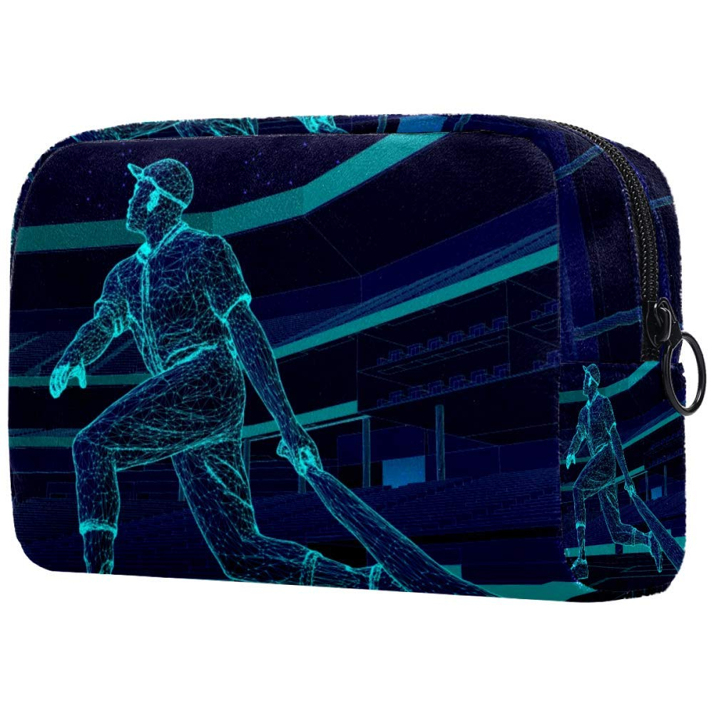 Baseball Player Stadium Makeup Bags Portable Tote Cosmetics Bag Travel Cosmetic Organizer Toiletry Bag Make-up Cases for Women