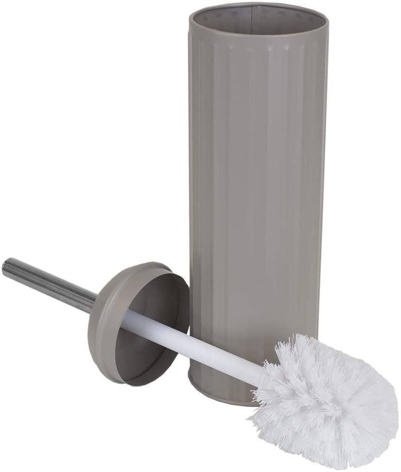 Home Basics Modern Chic Toilet Hygienic Holder Storage, Hide-Away Compact Long Brush, Heavy Duty, Sturdy and Splash Proof for Bathroom, Toilet & Powder Room (Tan)