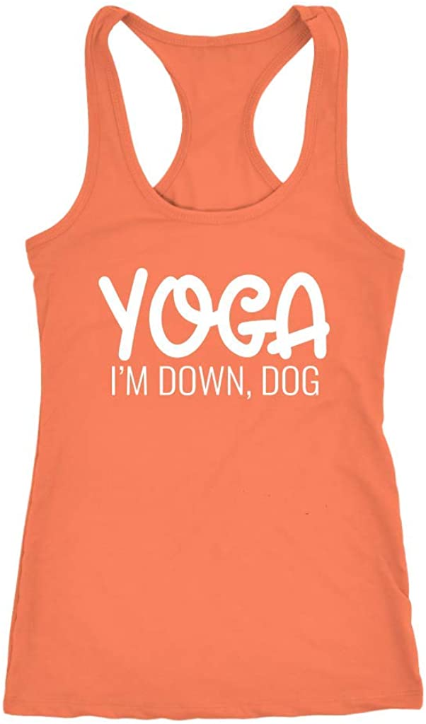Tessa Mae Designs Funny Workout Racerback Tank Top - Yoga I'm Down, Dog, Orange, XX-Large