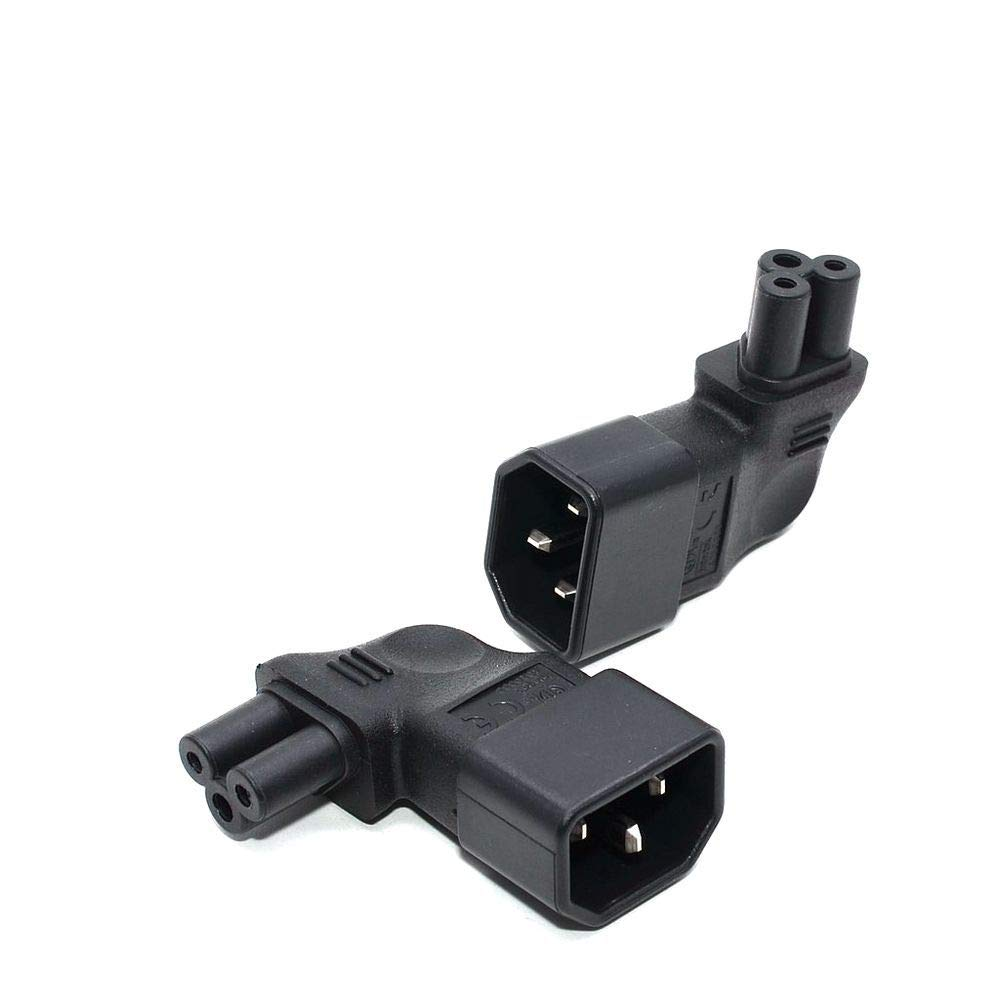 IEC 320 C14 Male to C5 Micky Vertical Right Angle Power Adapter AC Plug Converter 2pcs