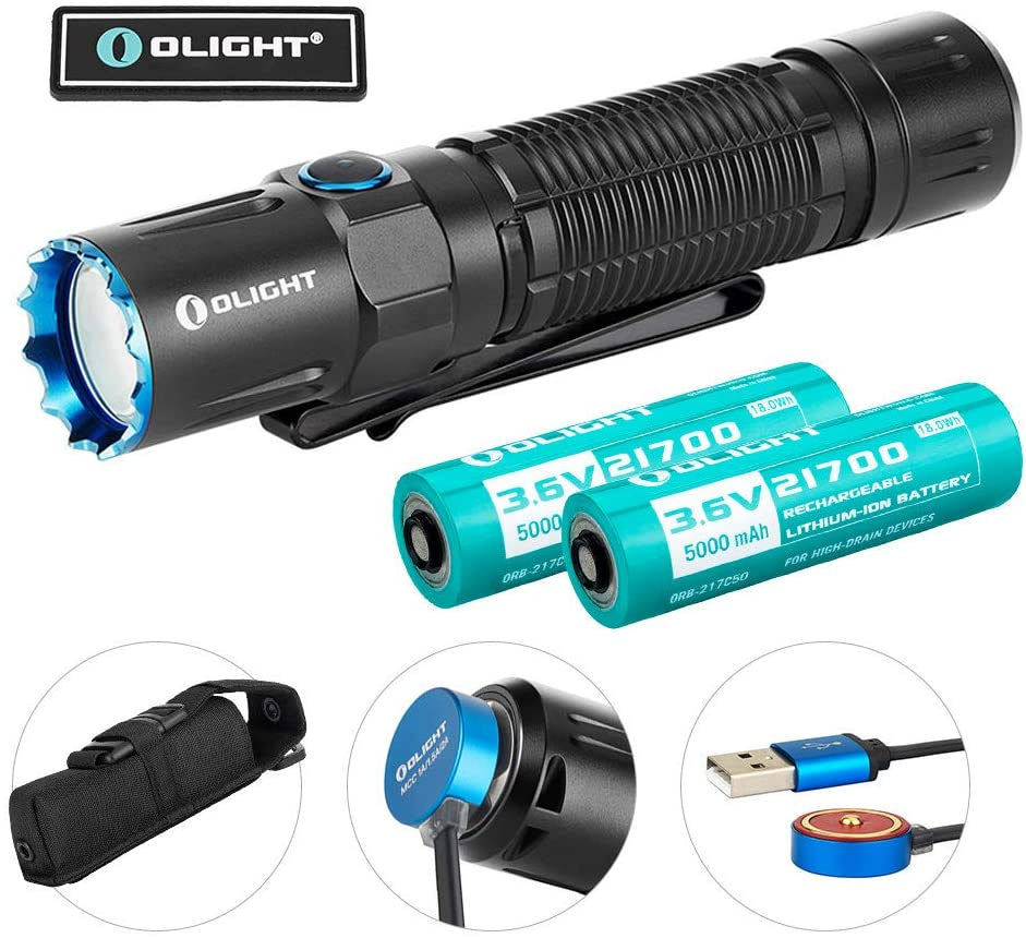 OLIGHT M2R Warrior Pro 1800 Lumens USB Magnetic Rechargeable Dual Switches Tactical Flashlight, 300 Meters Beam Distance, Comes with 2pcs 5000mAh 21700 Battery