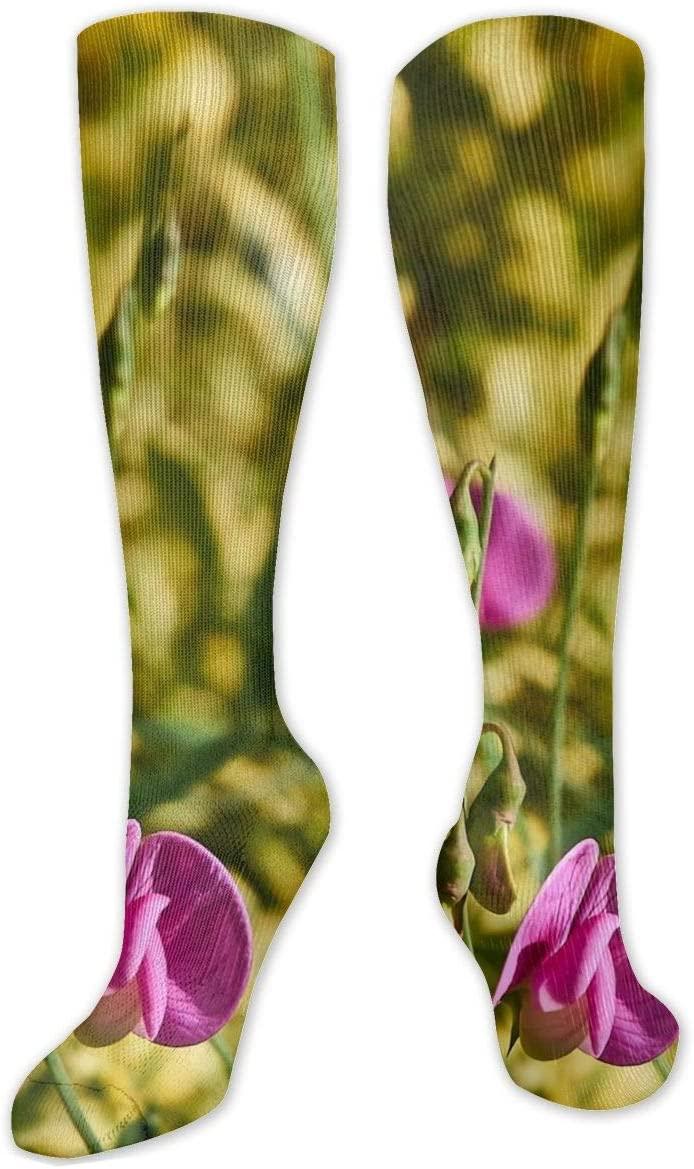 Compression Sock for Women & Men,Pink Pearl Pea CasualLongKneeHighTubeSocksforRunnning,SoccerAthleticSports,Travel-50cm