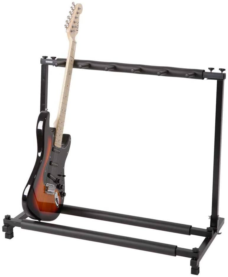 Multi Guitar Holder Stand, Universal Foldable Display Rack With No slip Rubber Padding for Classical Acoustic, Electric, Bass Guitar (5 holders)
