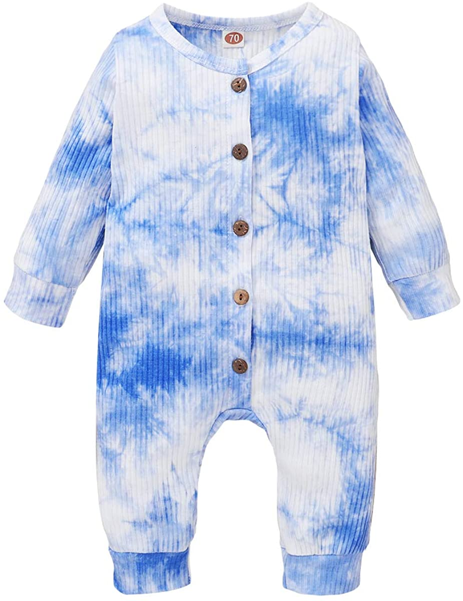 YOUNGER TREE Infant Baby Girl Boy Long Sleeve Romper Newborn Fall Outfit Button Jumpsuit Tie-dye One-Piece Bodysuit