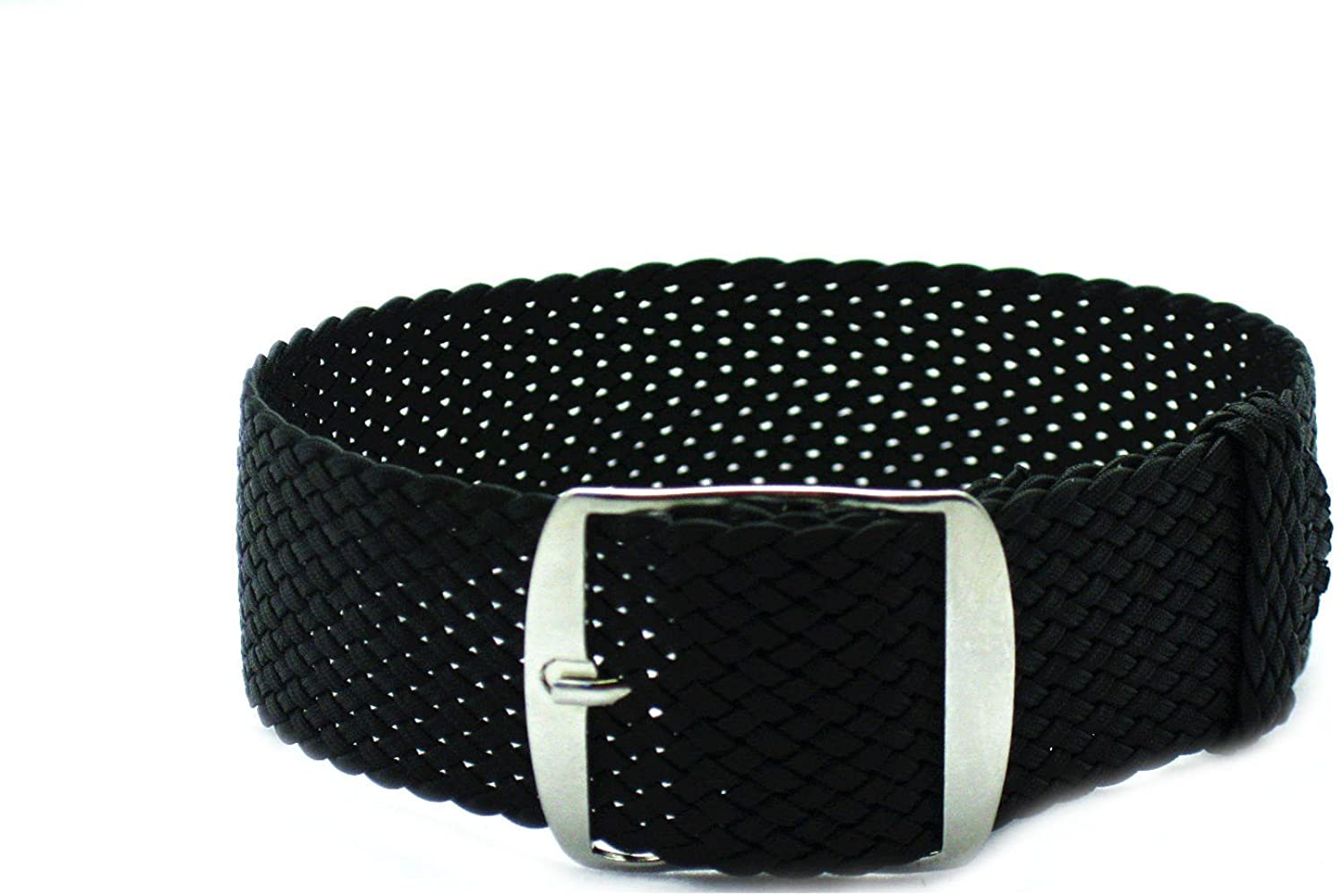 HNS 18mm Black Perlon Tropic Braided Woven Watch Strap with Brushed Buckle