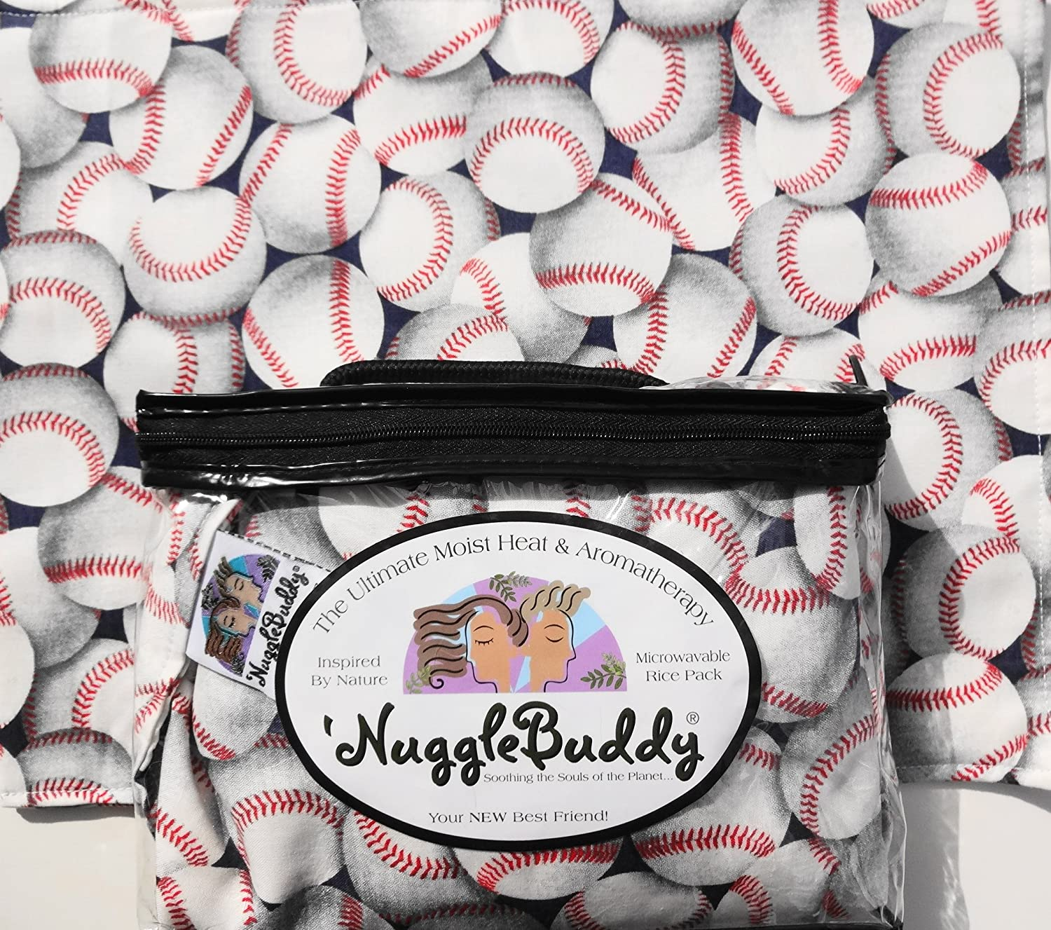'NUGGLEBUDDY Microwavable Moist Heat & Aromatherapy Organic Rice Pack. Fun Fabric for Baseball Players and Fans! with SPEARMINT EUCALYPTUS Aromatherapy.