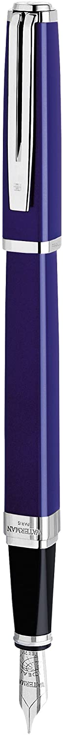 Waterman Exception Fountain Pen, Slim Blue with Silver Plated Clip, Medium Nib with Blue Ink Cartridge, Gift Box