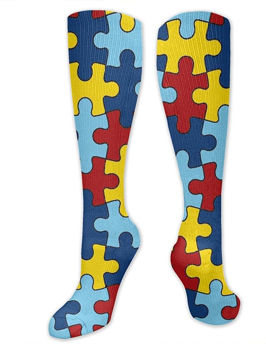 Autism Puzzle Athletic Socks Thigh Stockings Over Knee Leg High Socks