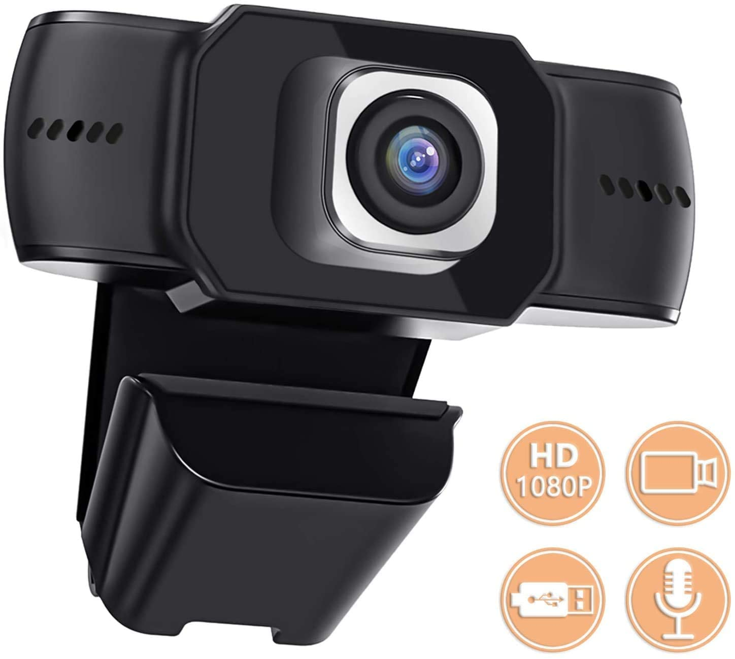 Anviker Webcam 1080P Full HD Skype Camera, Web Cam with Microphone/Speaker, Video Calling and Recording for PC/Mac Laptop/Desktop, Plug and Play USB Camera for YouTube/Skype/Potplayer Live Streaming