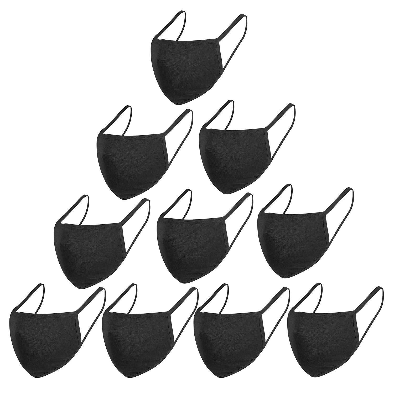 10PCS Fashion Protective, Unisex Black Dust Cotton, Washable, Reusable Cotton Fabric Mouth Covering