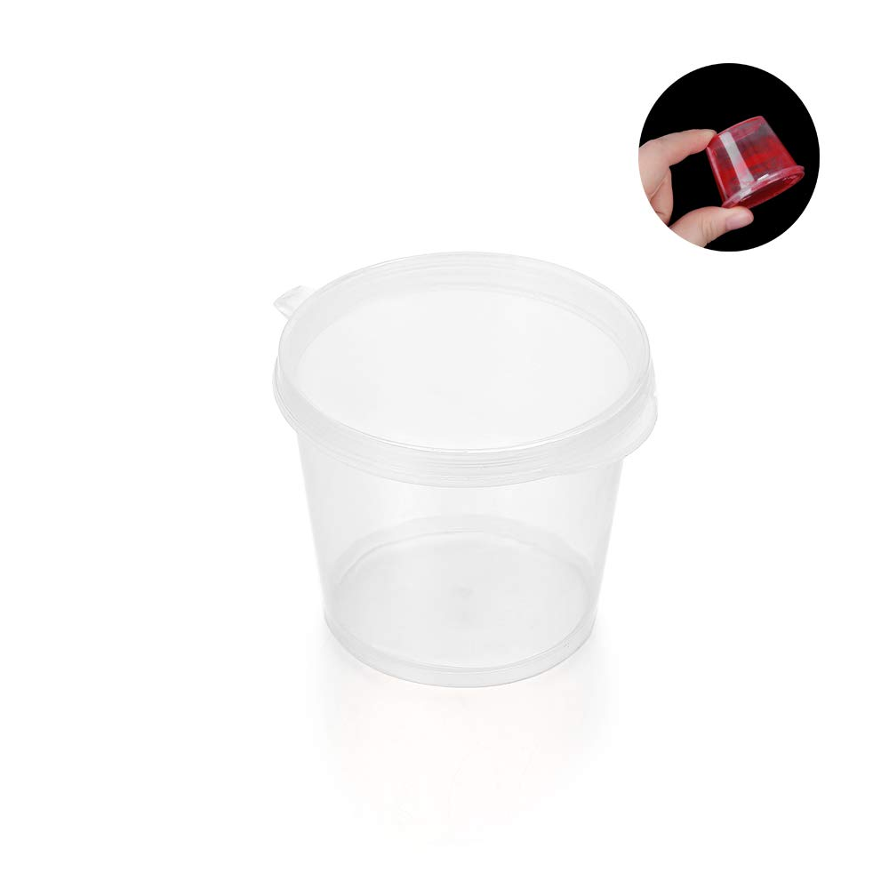 Plastic Portion Cups with Lids, Souffle Cups, Jello Shot Cups, Condiment Sauce Containers, Clear, BPA Free (25, 27ml-Round)