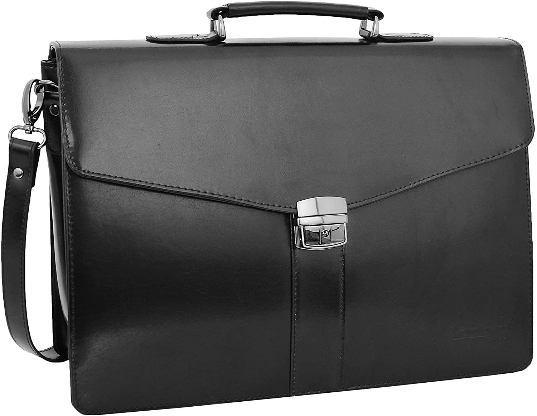 Black Leather Briefcase for Mens Laptop Bag Business Organiser Shoulder Case Alvin