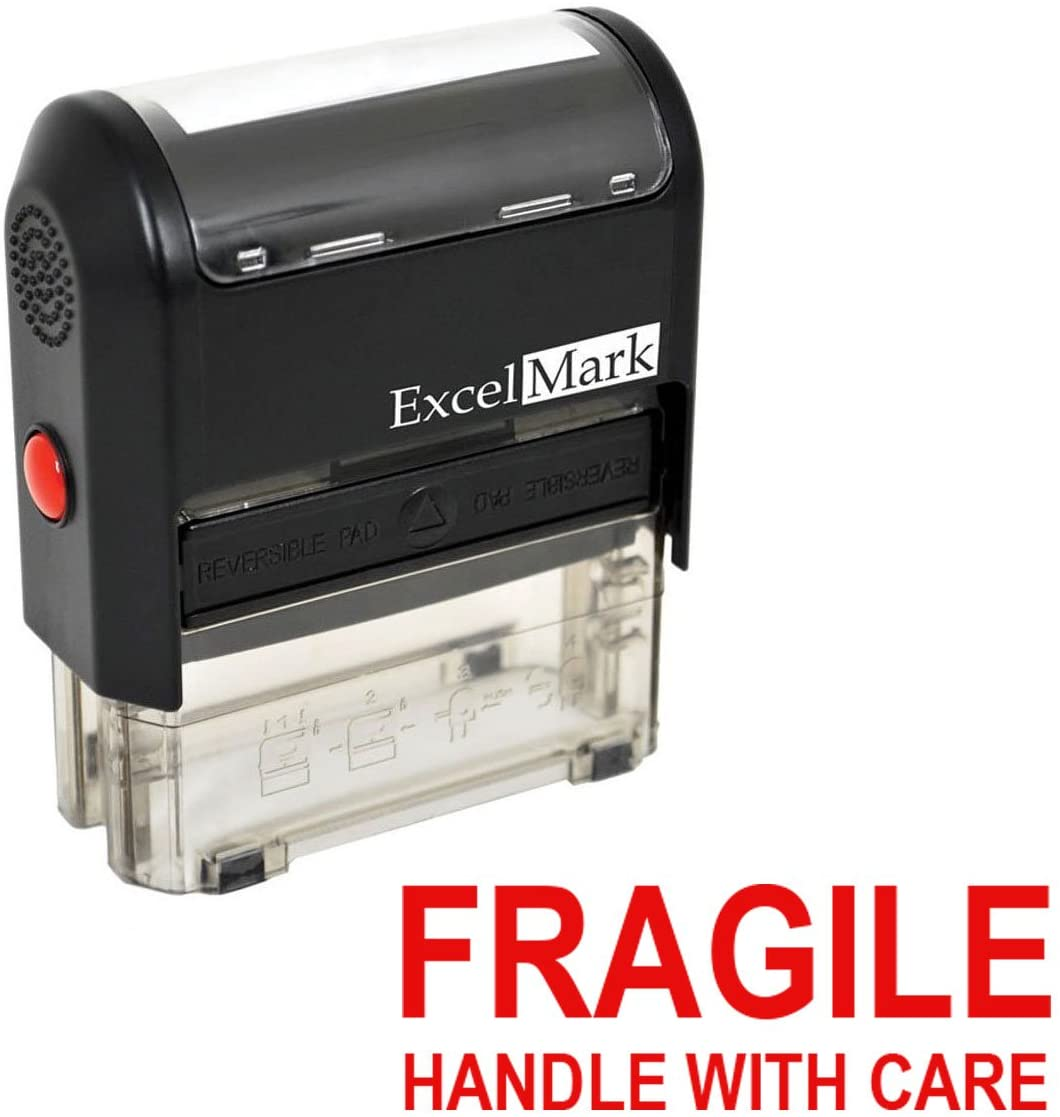 Fragile Handle with Care Self Inking Rubber Stamp - Red Ink
