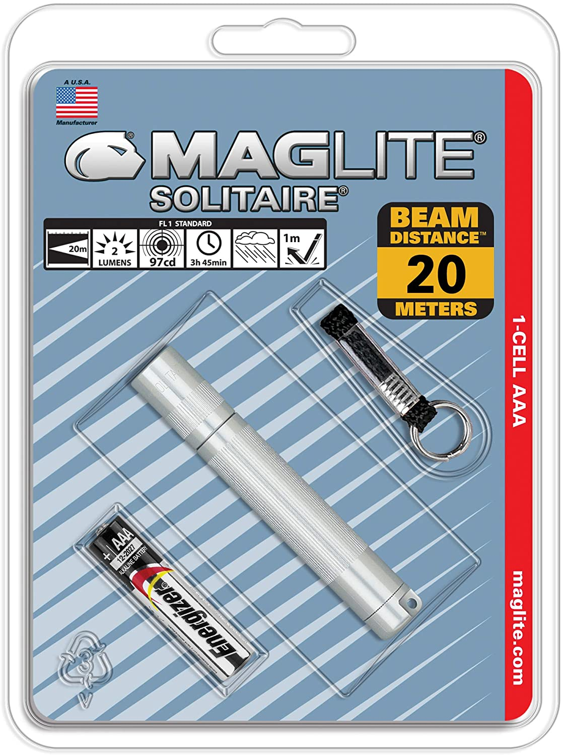 Maglite Solitaire Incandescent 1-Cell AAA Flashlight, Silver