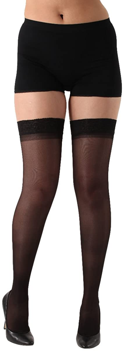 Made in The USA - Sheer Compression Stockings 15-20mmHg - Thigh High Lace Silicone Border– Black, X-Large