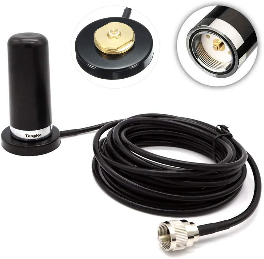 TengKo NMO Dual Band High Gain Antenna for CAR Mobile Radio UHF VHF 400-470 136-174MHZ and Mount Magnetic Base for Mobile Radios PL259 Connector for Yaesu Kenwood Vertex Icom Mobile Radios(Black)