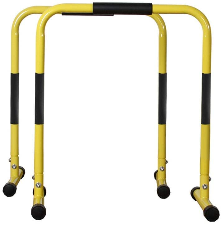 Multi-function single parallel bars Workout Dip Station Pull Up Bar Fitness Dip Station Body Press Parallel Bar With Gym Strength Training Fitness Equip ( Color : Yellow , Size : 61x36cm )