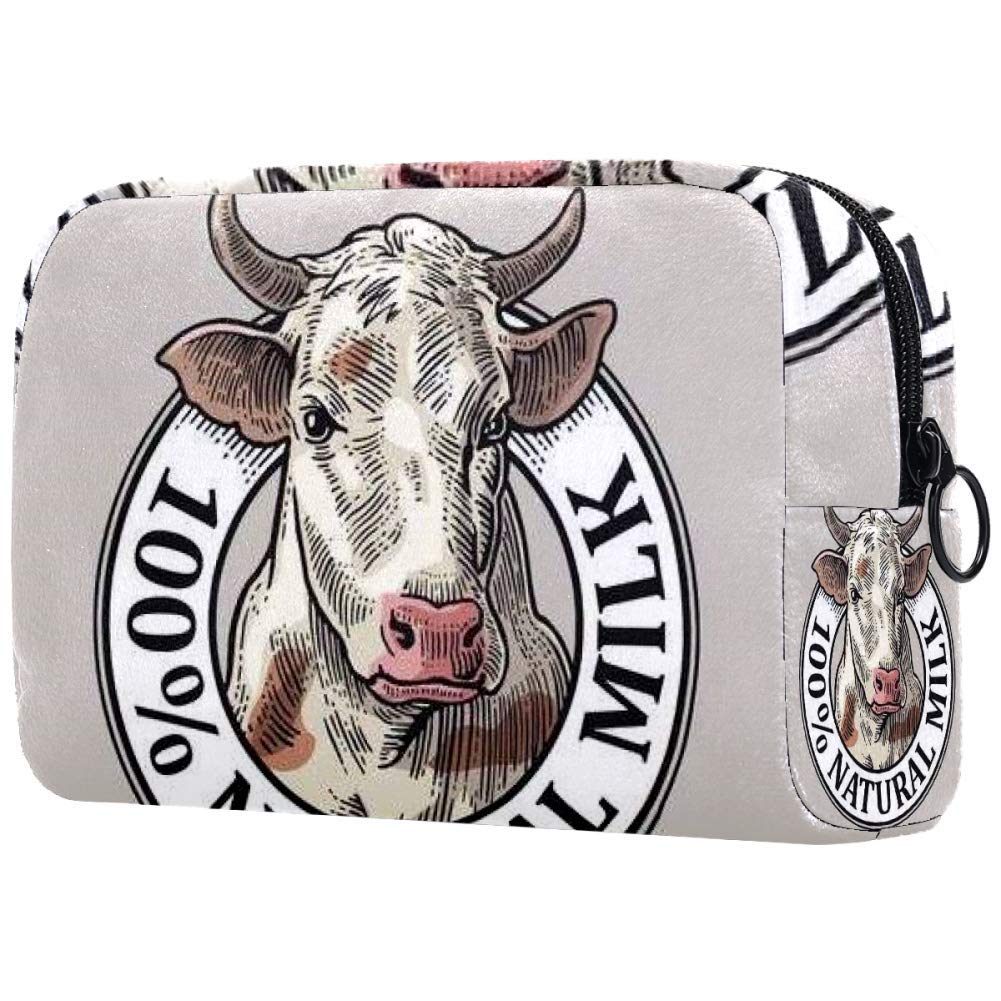 Cosmetic Bag Vintage Cows Head 100 Natural Milk Adorable Roomy Makeup Bags Travel Toiletry Bag Accessories Organizer