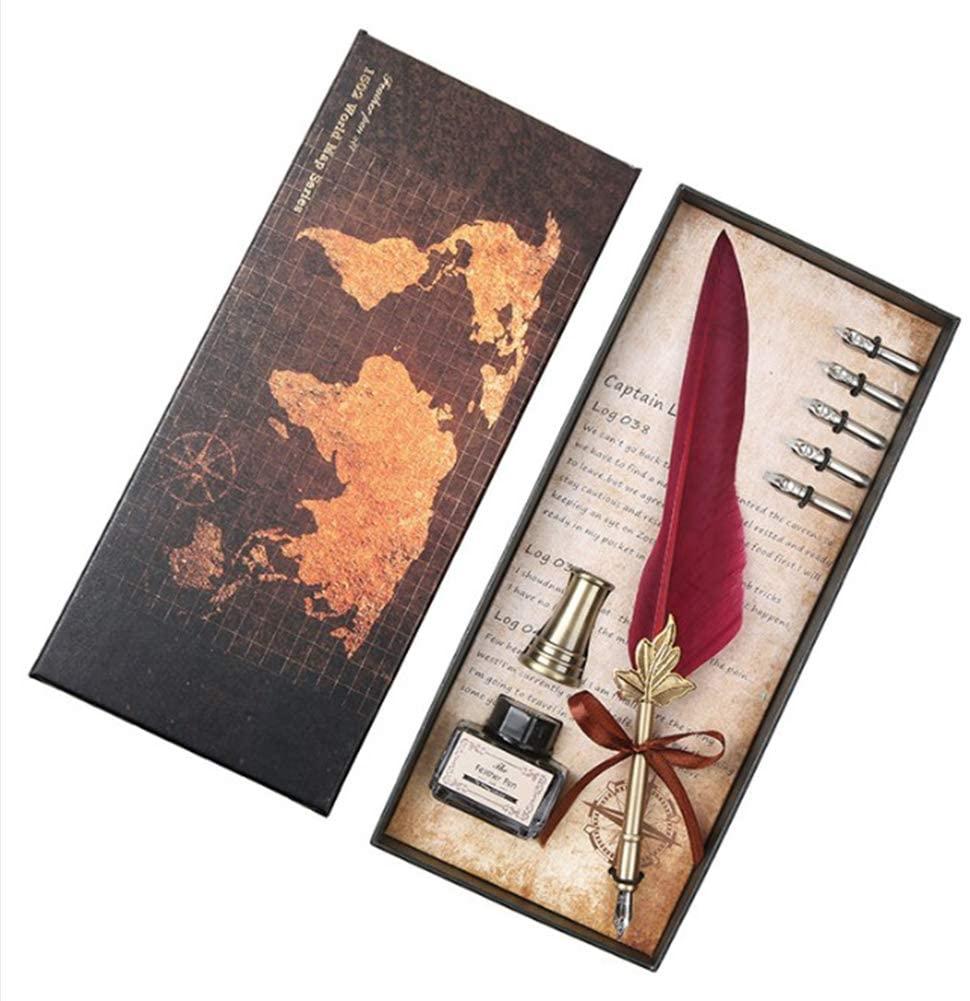 XuBa Advanced Retro Natural Quill Pen Set Feather Dip Pen Gift Set red Interesting