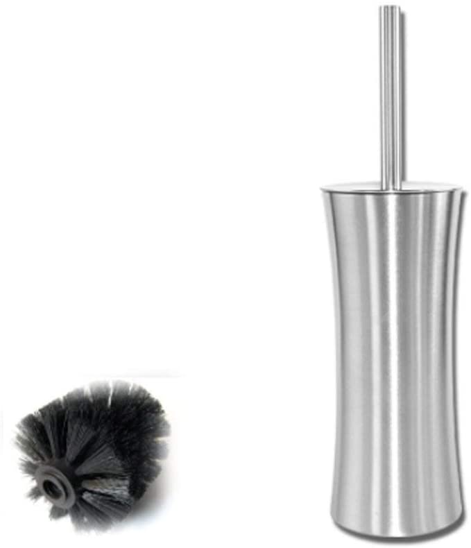 miaomiao Toilet Brush Holder Cube Design, in Stainless Steel with Black Head
