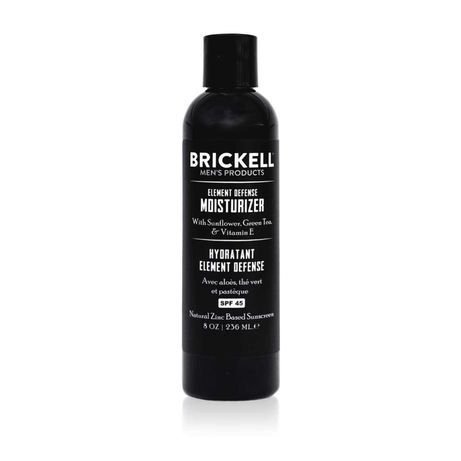 Brickell Mens's Element Defense Moisturizer with SPF45 for Men, Natural & Organic, Zinc SPF45 Sunscreen, Hydrates and Protects Skin Against UVA/UVB Rays, 8 oz, Unscented