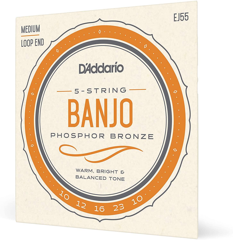 D'Addario EJ55 Phosphor Bronze 5-String Banjo Strings, Medium, 10-23