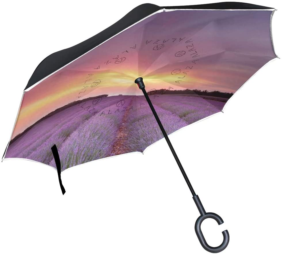 Vipsk Umbrella Reverse Lavender Purple Creative Cars Umbrella Double Layer Inverted Umbrella Windproof Straight Waterproof Inside Out Travel Umbrellas