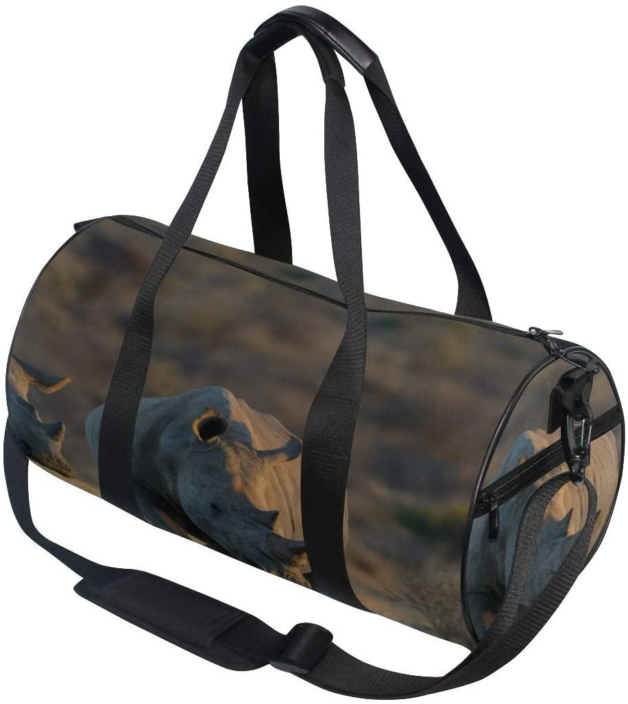 Lady Handbags For Women Big One-horned Rhinoceros Yoga Gym Totes Handbag Travel Duffel Bags Shoulder Crossbody Fitness Sport Girl Men Women Big Gym Bag