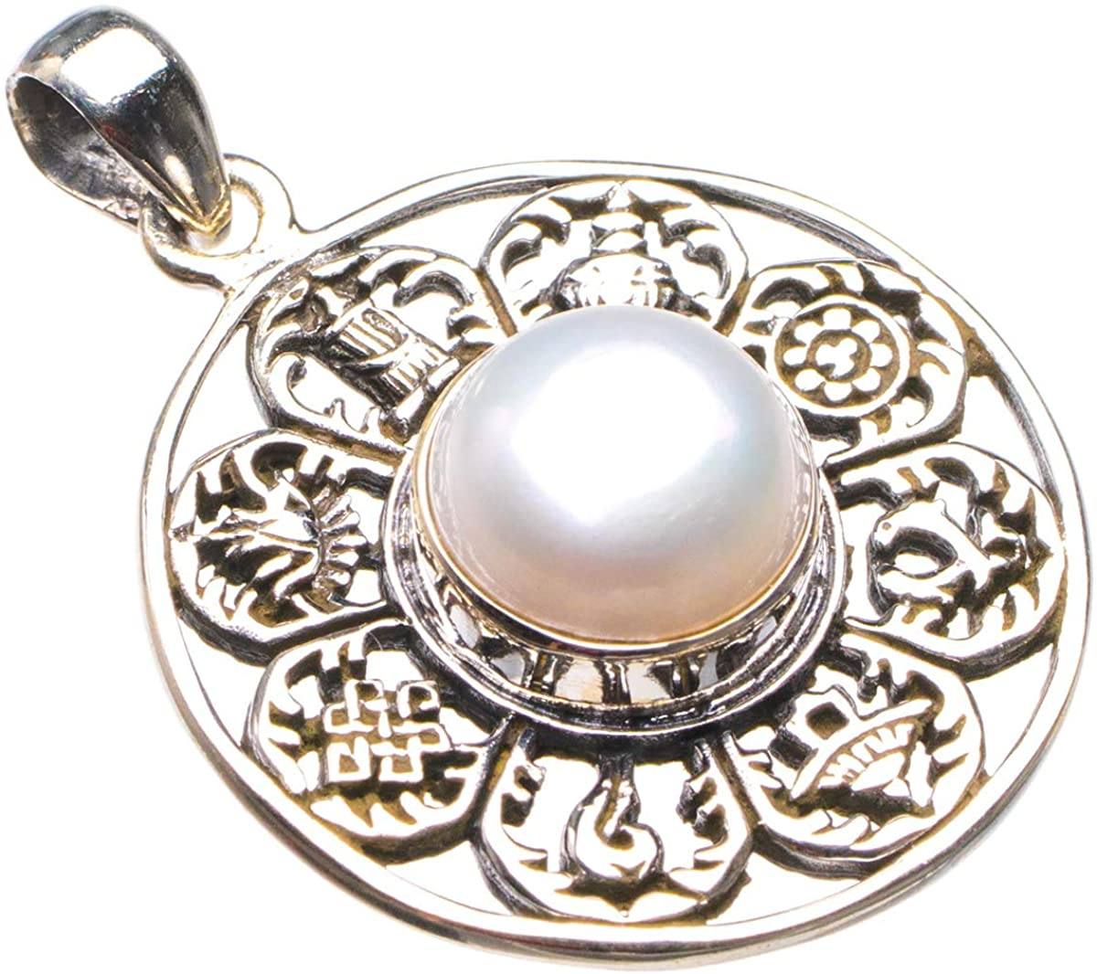 Natural River Pearl Handmade 925 Sterling Silver Pendant 1.5 D1716