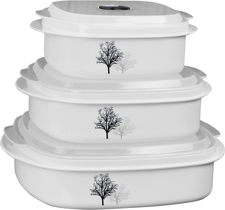 Reston Lloyd 6-Piece Cookware, Steamer, Corelle Coordinated Microwave Storage Set, Timber Shadows, Multi