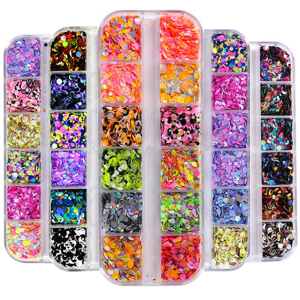 5 Box/60 Grids Nail Sequins, Kalolary Nail Art Flake Nail Glitter Paillette Mixed Round Thin Shining, 3D Nail Art Stickers Manicure Make Up DIY Decals Decoration