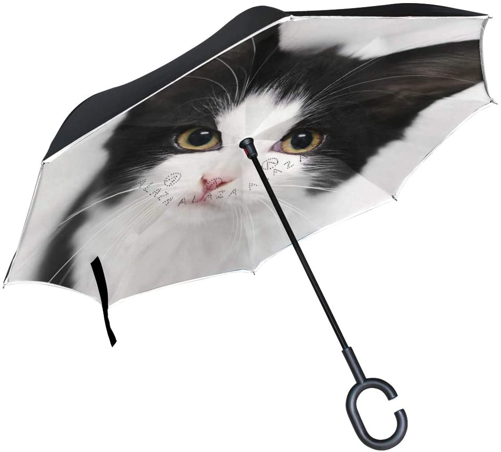 Vipsk Reverse/Inverted Cat Double-Layer Waterproof Straight Umbrella Self-Standing & C-Shape Handle & Carrying Bag for Free Hands, Inside-Out Folding for Car Use