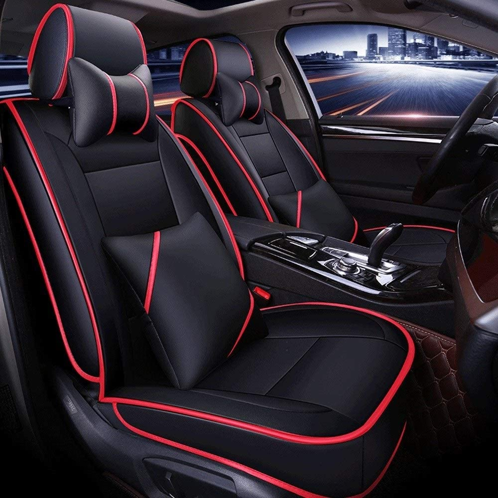 DX Car Seat Covers, Leather Full Set 5 Seat of Universal Car Interior Accessories Compatible Airbag Four Seasons Universal Breathable PU Protection Cushion (Color : Black red line)