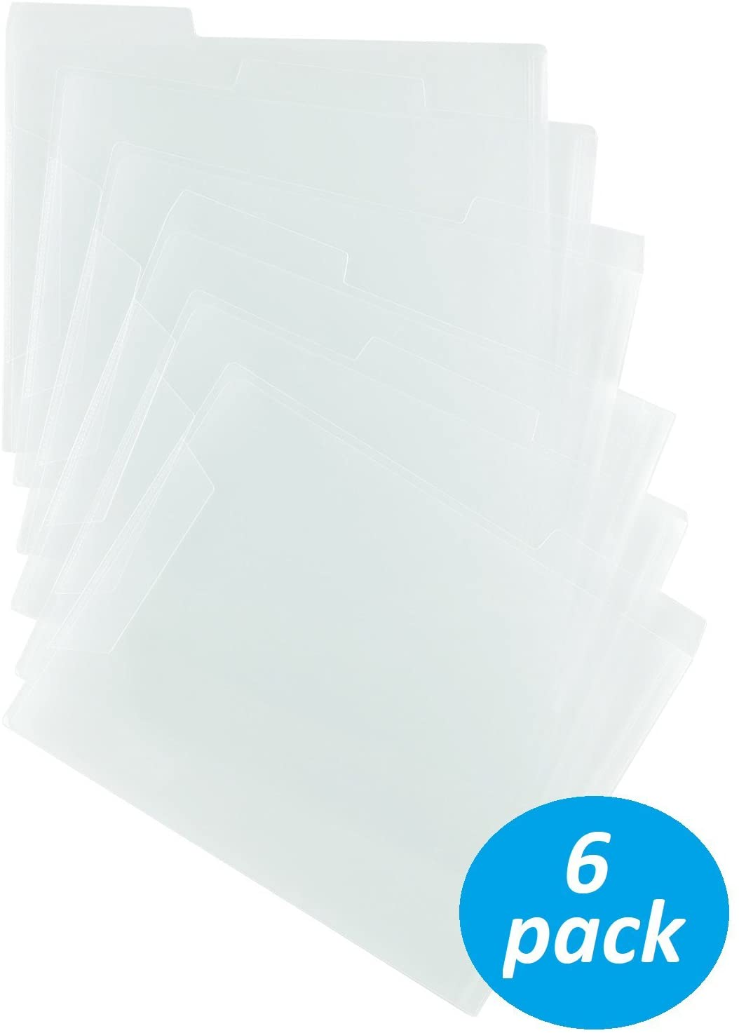 1InTheOffice Translucent Poly File Folders, Clear, 6 Pack