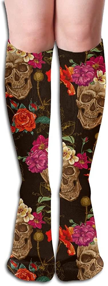 TO-JP Running Long Sports Socks Skull Rose Surround Dresses Knee Thighs Stockings.
