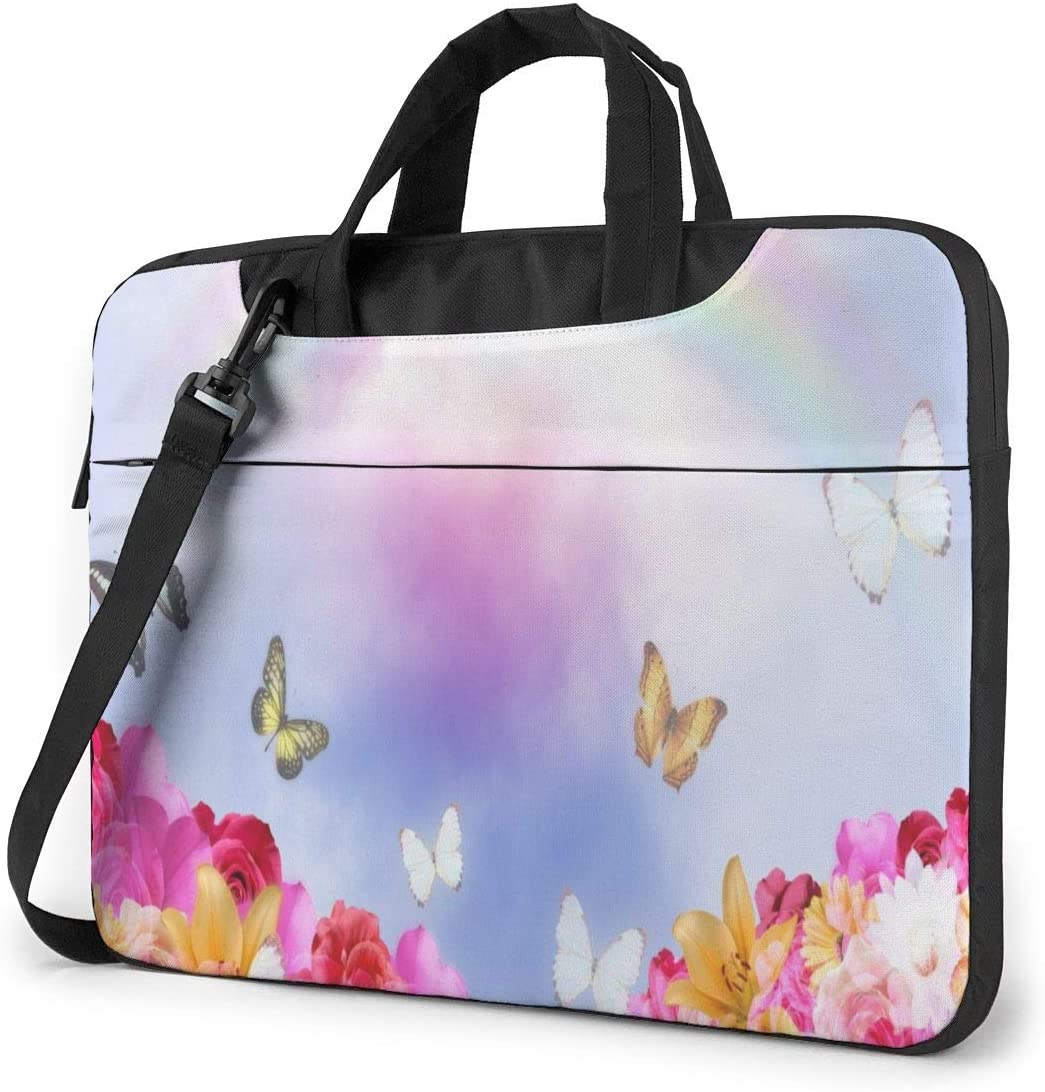 Flowers Hills in Spring Rainbow Laptop Case 14 Inch Computer Carrying Protective Case with Strap Bag