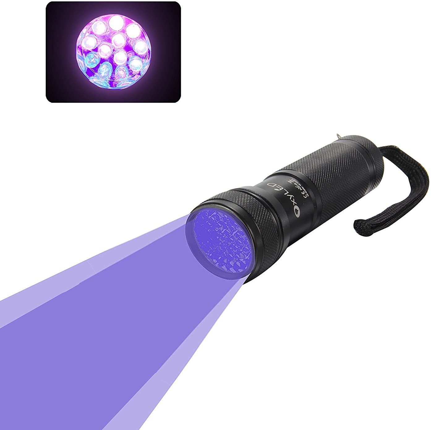 OxyLED OxyWild 12 Ultraviolet LED UV Light, Pet Urine Stain Detector Blacklight Flashlight (AAA Batteries Inclued)