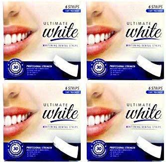 4 Ultimate White Whitening Dental Strips, (4 Boxes of Strips)