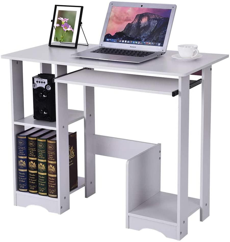Desktop Household Computer Desk Modern Minimalist Desk Creative Laptop Desk Writing Desk, Bedroom Multi Layer Office Writing Study Desk Table Storage Shelves (35.4×18.9×28.3 in)