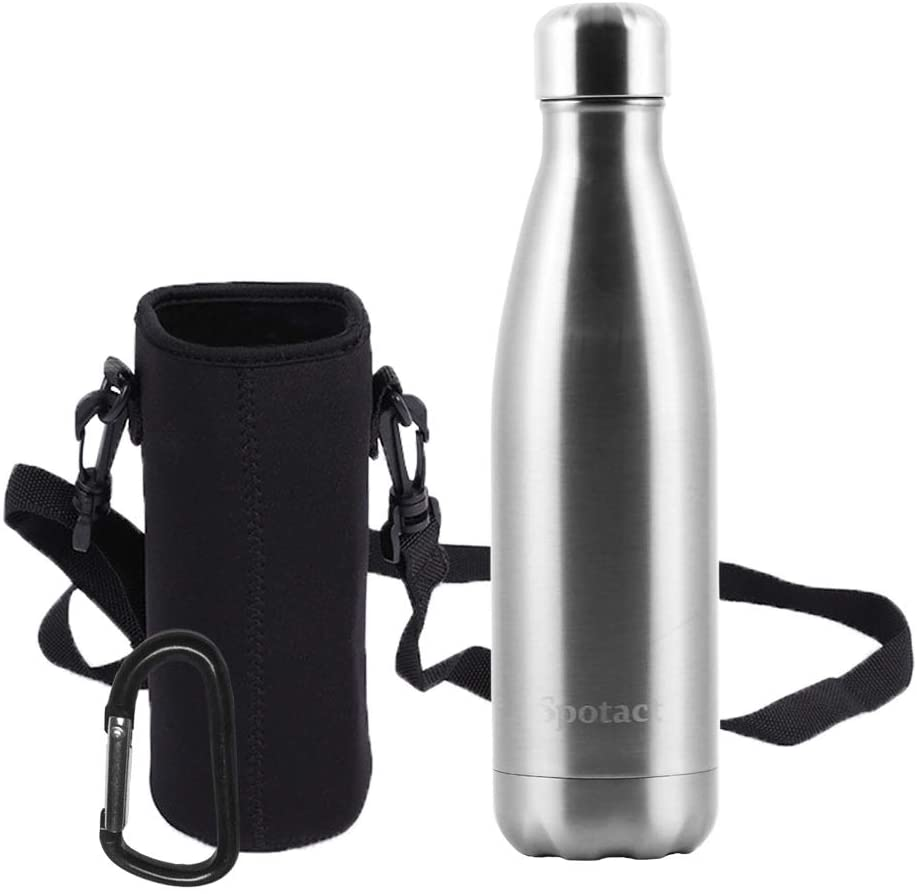 Spotact Insulated Water Bottle, Stainless Steel Double Layer Leak Proof, No Sweat, No BPA Non Toxic Reusable Vacuum Flask, Thermos Comes with a Carrying Bag and a Buckle for Travel/Camping/Office