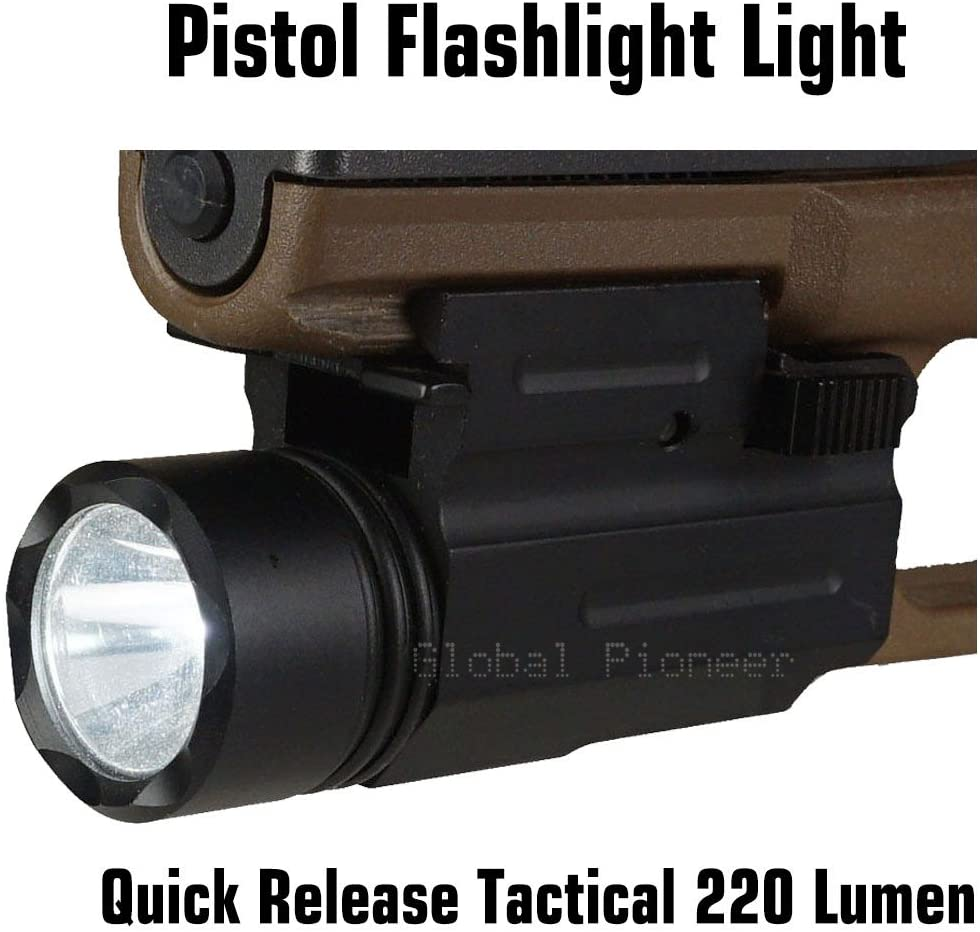 GlobalPioneer Quick Release Tactical 220 Lumen Led Powered Pistol Flashlight Light